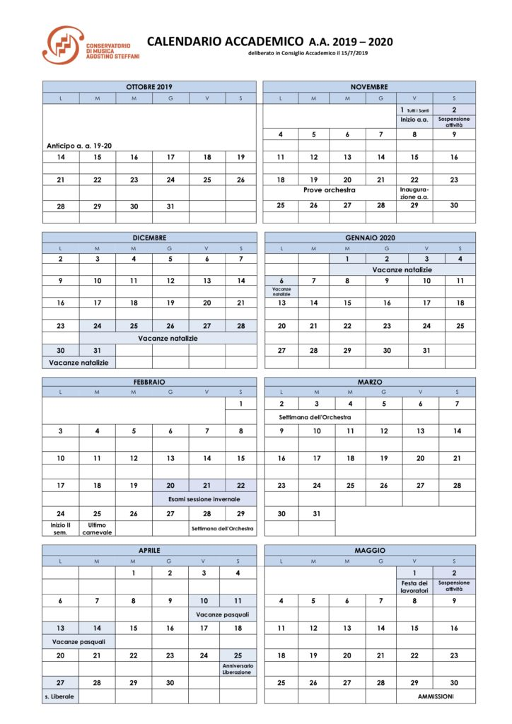 Calendario Accademico 2020.Calendario Accademico Conservatorio Agostino Steffani